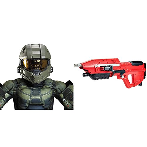 Master Chief Child Helmet with BOOMco DXD58 HALO UNSC MA5 Blaster Bundle