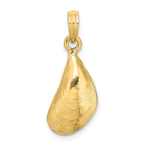 (FB Jewels 14K Yellow Gold 3D Mussel Shell High Polish Pendant)