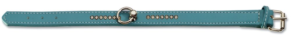 Light bluee Petego La Cinopelca Soft Calfskin Dog Collar with Crystals, Light bluee, 5 8-Inch by 17-Inch