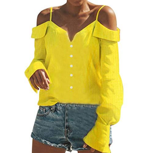 Big Promotion! Teresamoon Women Off Shoulder V-Neck Long Sleeves Print Camisole Tops Loose Blouse Shirt ()