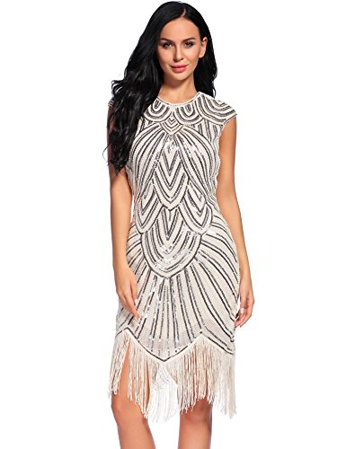 Flapper Girl Womens 1920s Diamond Sequined Embellished Fringed Flapper Dress (S, Beige)