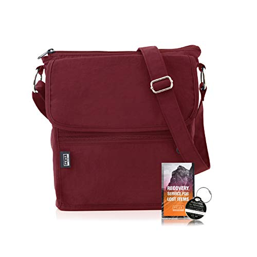 Travel Crossbody Purse - Hidden RFID Pocket - Includes Lifetime Lost & Found ID (Burgundy)