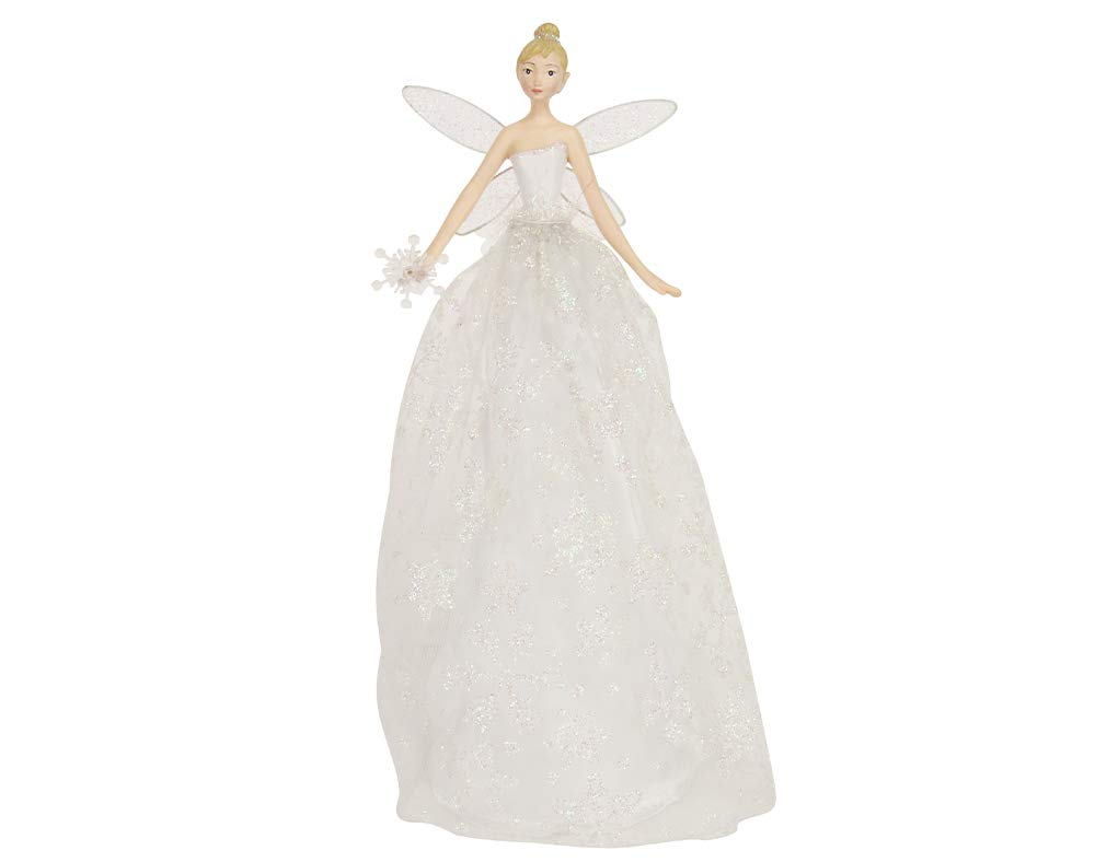 28cm Gisela Graham Iridescent Glitter Snowflake Fairy Christmas Tree Topper Crafty Capers
