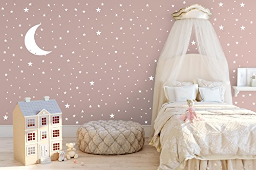 Moon and Stars Wall Decal Set - Removable Vinyl Stickers for Children Baby Kids Boy Girl Bedroom Nursery Decoration(A02) (White) - Baby Boy Decal Set