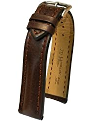 Hirsch Lucca Distressed Textured Leather Watch Band Bracelet Brown 20mm