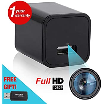Hidden Spy Camera - Night Vision Motion Sensor Security - Premium Wireless Surveillance Video Cameras - USB Wall Charger Nanny Cam - Portable Home & Travel ...