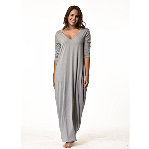 Women Long Dress Daoroka Sexy V-Neck Loose Plus Size Maxi Casual Plain Skirt With Pockets 3/4 Sleeve Beach Sundress (XL, Gray) by Daoroka Women Dress
