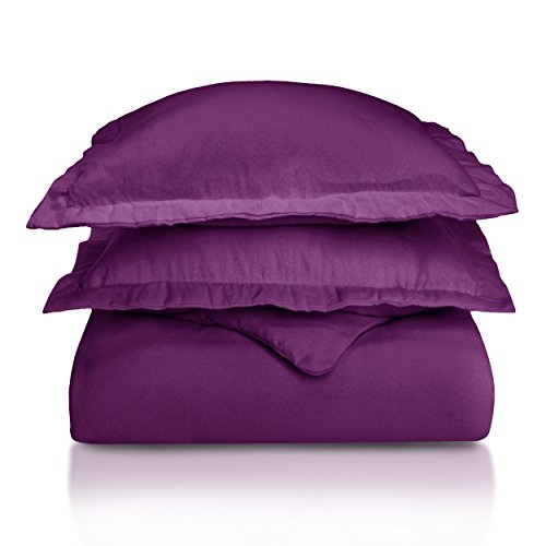 Superior Premium Cotton Flannel Duvet Cover Set, All Season 100% Brushed Cotton Flannel Bedding, 2-Piece Set with Duvet Cover and Pillow Sham - Purple Solid, Twin