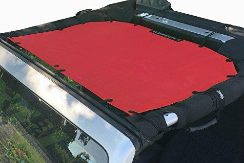 Alien Sunshade Jeep Sunshade Mesh Top Jeep Wrangler 2-Door JK 4-Door JKU 2007-2018 - 10 Year Warranty Front Jeep Top Cherry Red