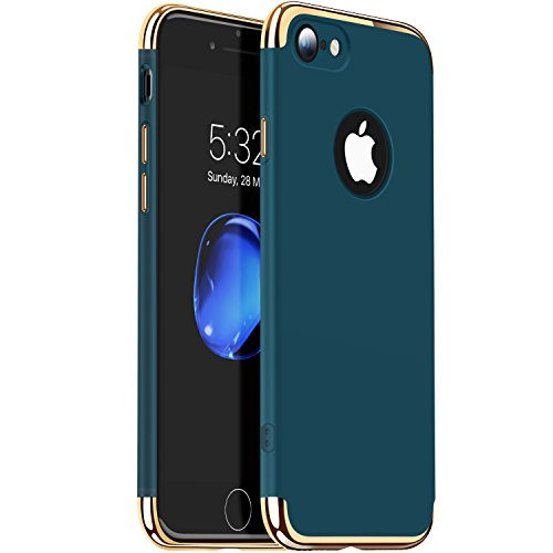 Price comparison product image iPhone 7 Case, VANMASS 3 in 1 [Slim Fit] Ultra Thin Anti-Scratch Resistant Matte Back Case +CHROME GOLD Frame Hard Protective Cover Case with 3 Detachable Parts for Apple iPhone 7 (Dark Green)