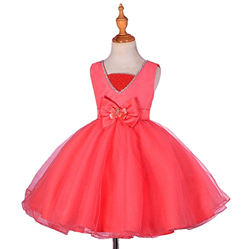 Dressy Daisy Girls' Pearls Diamante Flower Girl Dresses for Wedding Pageant Party Size 3-4T Coral