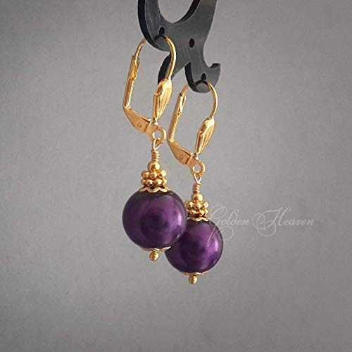- Dark Purple Round Ball Earrings Gold Plated Lever Backs