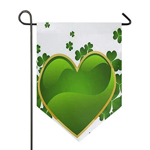 Saint Patrick's Day Love Heart Wallpaper Garden Flag Banner Long Polyester Decorative Flag for Wedding Anniversary Home Outdoor Garden Decor Season Porch Lawn Double Sided 12 x 18.5 inches