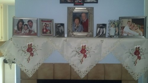DoilyBoutique Christmas Fireplace Mantel Scarf Embroidered with Red Candles and Poinsettias Handmade, Size 84 x 27 inches