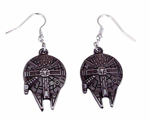 Star Wars Millenium Falcon Logo French Wire Earrings W/ Gift Bag (Lightsaber Earrings Wars Star)