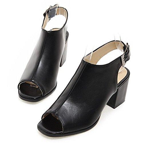 Coolcept Women Block Heel Sandals Shoes Black IL580Gd