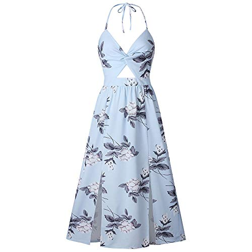 Women's Deep V Neck Tie Front Dress Spaghetti Strap Halter Backless Maxi Dress Sexy Twisted Cut Out Front Floral Printed Side Split A-Line Sundress Blue ()