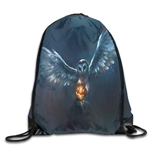 Drawstring Bag Owl And Halloween Pumpkin Fireball Womens Gym Backpack Marvellous Mens Travel Small Bags For -