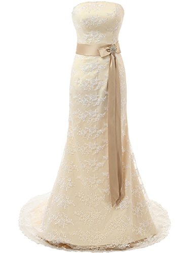 (Wedding Dress Lace Bridal Gowns Strapless Bride Dresses with Belt Champagne)