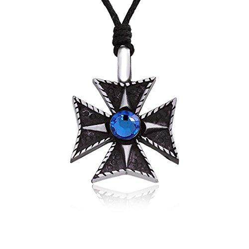 Crystal Loop Cross (Dan's Jewelers Blue Swarovski Crystal Maltese Cross Necklace Pendant, Fine Pewter Jewelry)
