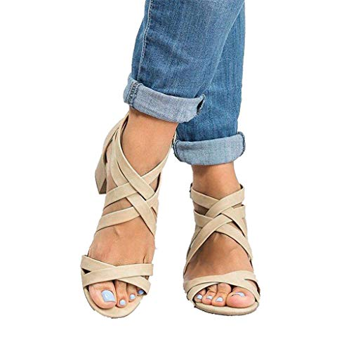 (sweetnice Women Shoes Womens Gladiator Strappy Flat Sandals Open Toe Lace Up Criss Cross Strap Ankle Wrap Summer Sandals Beige)