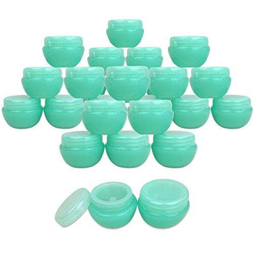 Beauticom 10G/10ML Frosted Container Jars with Inner Liner for Scrubs, Oils, Salves, Creams, Lotions, Makeup Cosmetics, Nail Accessories, Beauty Aids - BPA Free (24 Pieces, Green)