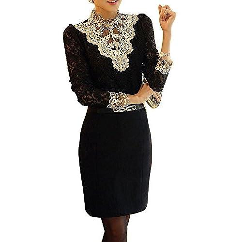 Minetom Mujer Elegante Blusa Cordón Blusa Tops Con Diamante De Imitación Camisas OL 2 Colores Negro ES 46