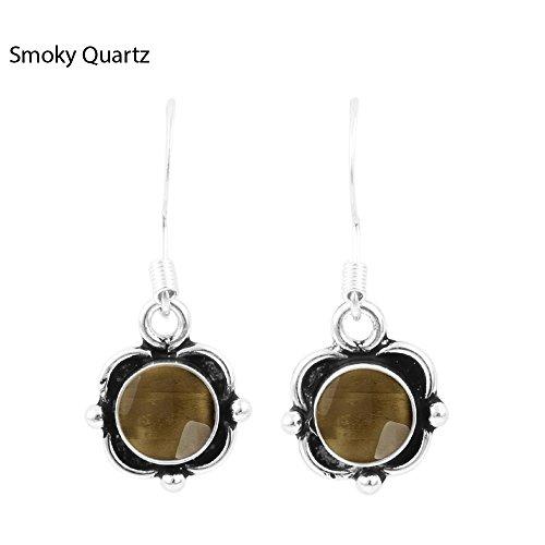 1.80ct, Genuine Cabochon Smoky Quartz & 925 Silver Plated Dangle Earrings (Cabochon Smoky Earrings)