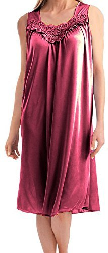 EZI Women's Satin Silk Sleeveless Lingerie Nightgown,Fuschia,2X