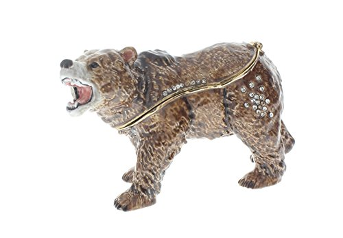 Ciel Jeweled Collectible Austrian Crystal Hinged Trinket Box Grisly Bear Brown