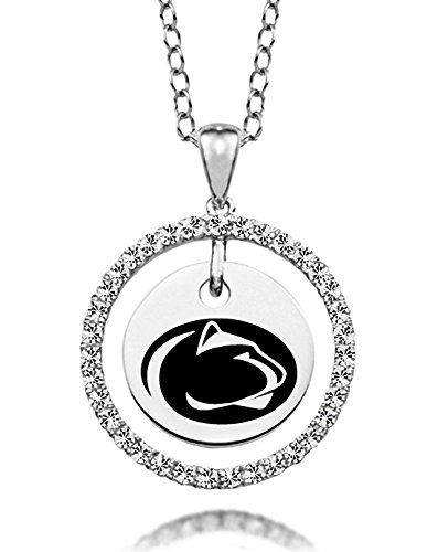 (Penn State University Nittany Lions White Cz Circle Charm Necklace)