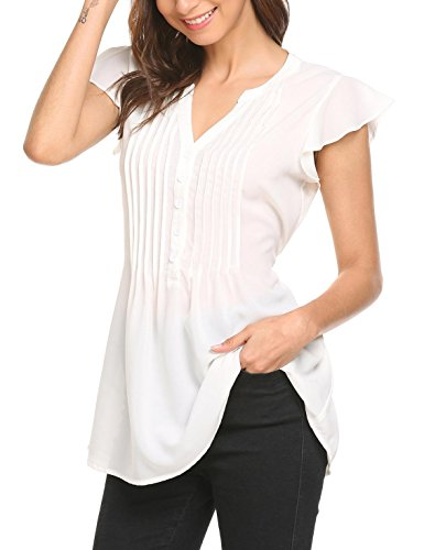 - SoTeer Women Casual V Neck Tops Pleated Front Workout Blouse Shirt S White