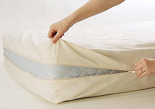 100% Cotton Fleetwood Cotton Mattress Cover, Zips around the mattress - Cotton Zippered Mattress Cover