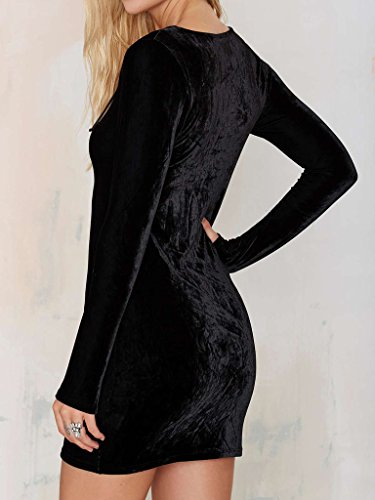 Clothink Front Velvet Plunge Bodycon Women Black Plain Detail Lattice Dress pwtwqxfr