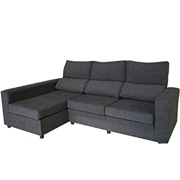 MERCAT DEL MOBLE - Sofa Chaise Longue Grafeno 250X145 Cm, Marengo: Amazon.es: Hogar