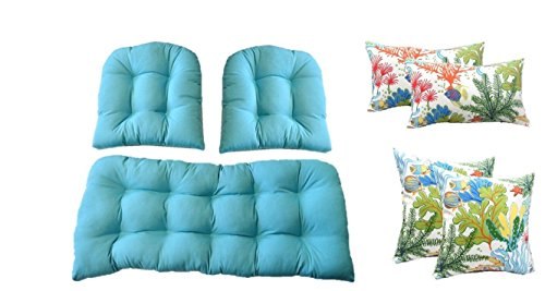 - Resort Spa Home Wicker Cushions and Pillows 7 Pc Set - Cancun/Atlantis Blue Cushions and White, Orange, Turquoise, Red Splish Splash Tropical Fish Pillows - Indoor/Outdoor Fabric