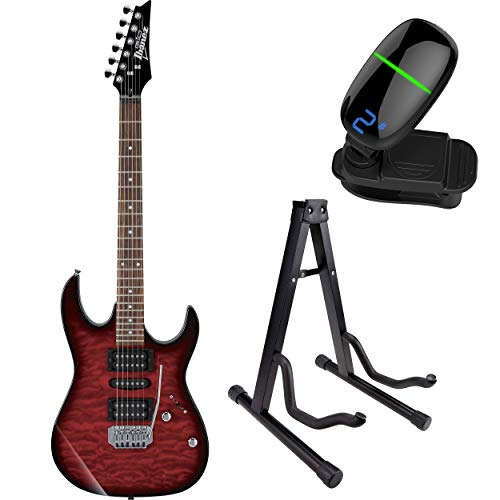 (Ibanez GRX70QA GIO RX 6-String Electric Guitar with Front Row Tuner & Stand (Transparent Red Burst))
