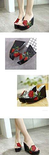 SHEO sandalias de tacón alto Señoras europeas y americanas sueltan zapatos transparentes transparentes zapatillas Negro