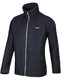 MIER Men's Windbreaker Warm-Up Track Jacket,Lined,Water Resistant,Black and Navy Blue