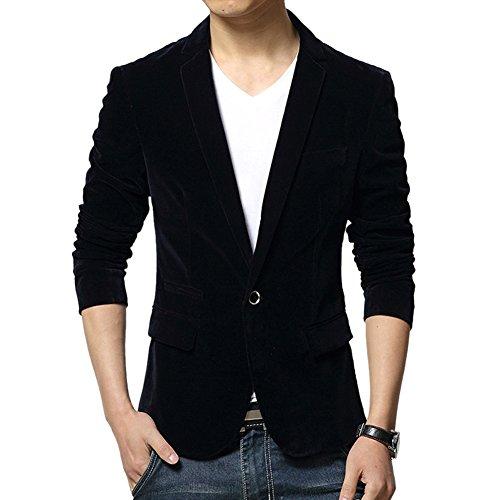 Vintage Black Velvet Blazer Jacket (Vividda Men's Solid Corduroy Suit Vintage Smart Formal Slim Fit Velvet Blazer Coat Medium)
