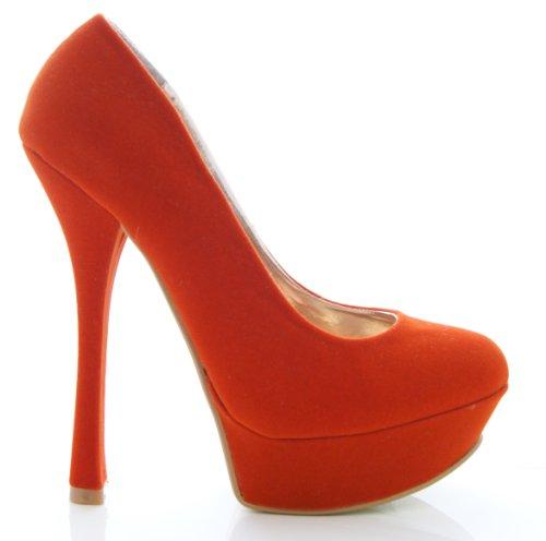 Scarpe da donna decollete con tacco alto e plateau in finto camoscio - Sintetico, 7 UK / 40 EU, Arancione
