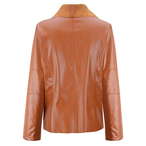 Marron Mode 1pc Veste Motard de Vintage Femmes Manteau ESAILQ Cuir Zipper vBwqO5n