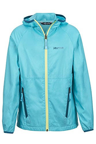 - Marmot Ether Girls' Lightweight Hooded Windbreaker Jacket, Light Aqua, X-Large