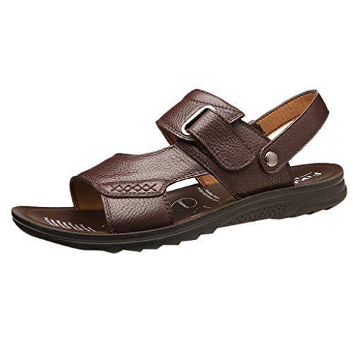 Flats Sandals for Men,AopnHQ Casual Leather Flatform Ankle Buckle Strap Open Toe Slingback Summer Sandals with Buckle ()