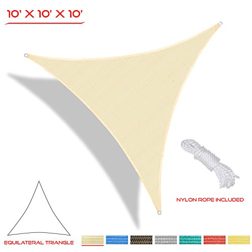 The Patio Shop 10' x10' x10' Triangle Sun Shade Sail UV Block Perfect for Outdoor -3 years quality warranty(Begie)