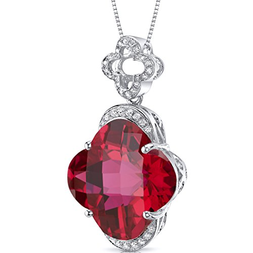 Revoni Bague en coupe Lilly Grand 21,00 Cts - Argent 925/1000 - Rubis Pendentif