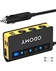 180W Cigarette Lighter Power Adapter Quick Charge 3.0 12V/24V 3-Socket Cigarette Lighter Splitter with 6.5A 4 USB Ports LED Display Voltage Individual Switch,Car Power Adapter