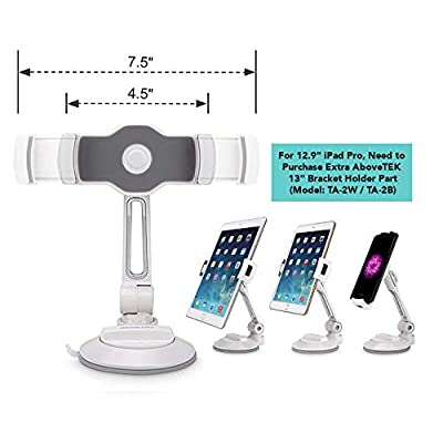 """Grip Tight iPad Suction Cup Holder Fits 4-11"""" Display, Swivel Sticky Tablet Phone Stand Pad to Mount Smartphone, iPhone 5 6 7 iPad Mini, Cell on Smooth Surface Desk Countertop Mirror Car Truck Window: Computers & Accessories"""
