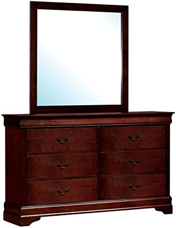 HOMES Inside Out ioHOMES Nathanial Contemporary Dresser and Mirror Set, Cherry