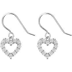 Crystal Heart Silver Drop Hook Earrings